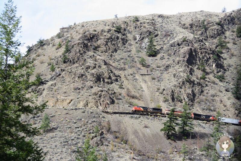 Ein Zug fährt durch die Cariboo Region in Kanada