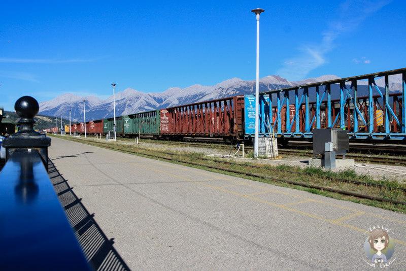 Ein langer Zug im Bahnhof von Jasper