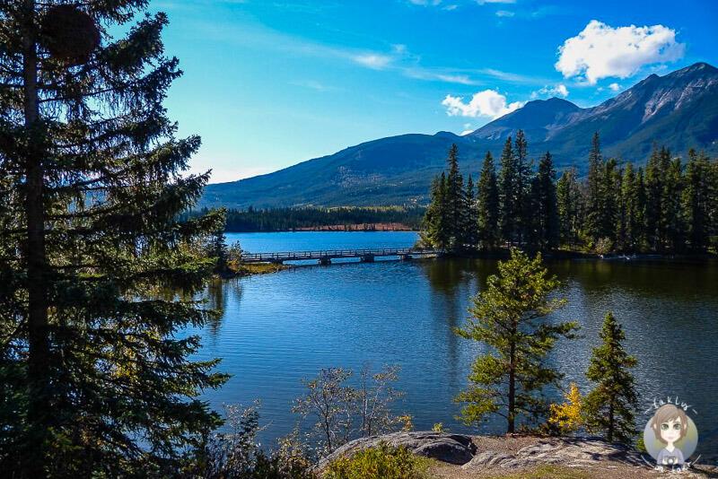 Ein toller Blick über den Pyramid Lake, Jasper, Kanada