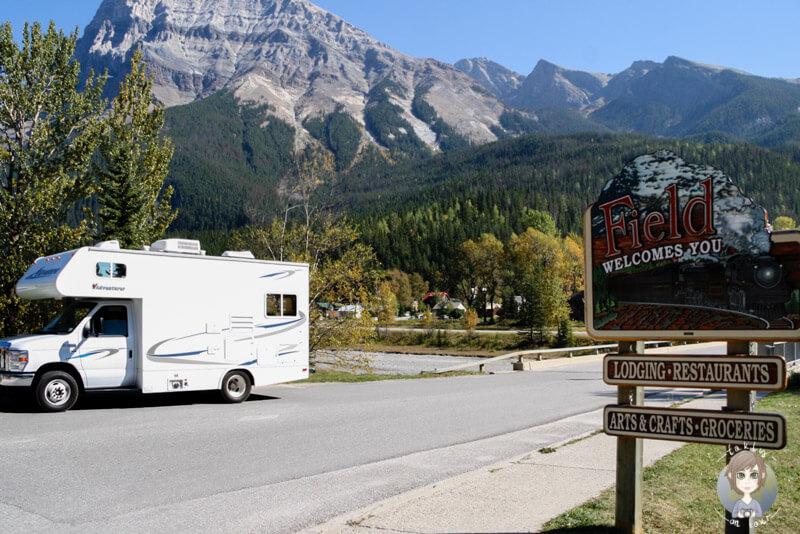 Mit dem Camper in Field, BC, Kanada