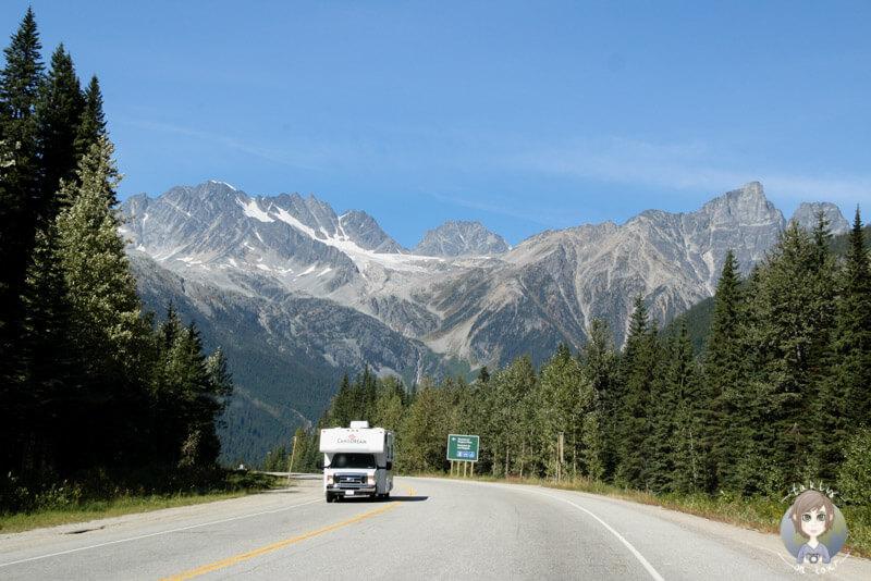 Mit dem Wohnmobil über den Rogers Pass, BC, Kanada