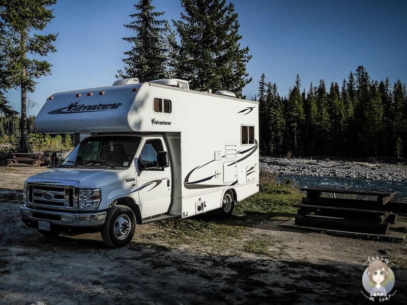 Mit dem Wohnmobil auf einer Recreation Site in Kanada
