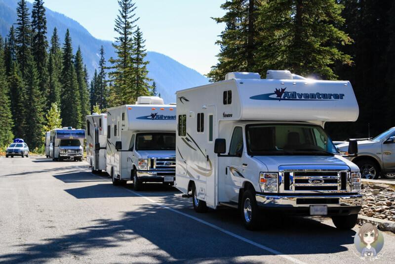 Parkplatz für Wohnmobile am Emerald Lake, Yoho National Park, Kanada