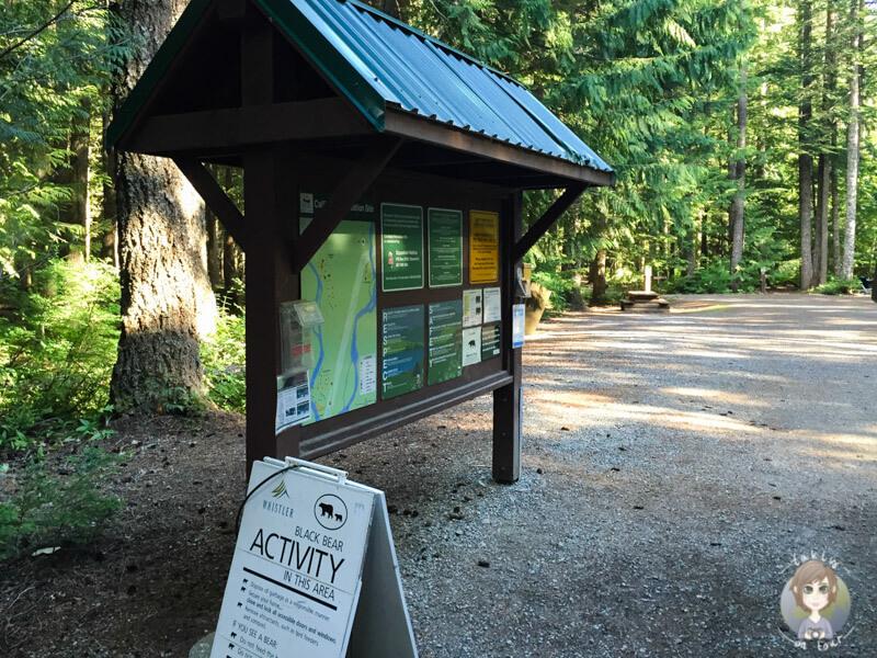 Das Registrationbord auf dem Cal Cheak Campground, Kanada