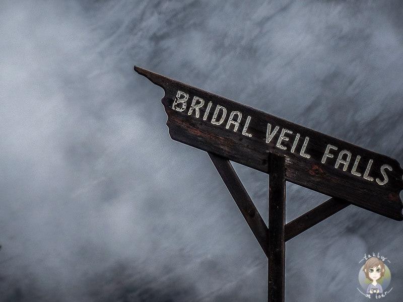 Schild der Bridal Veil Falls, Alberta, Kanada