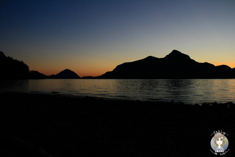 Der Porteau Cove Provincial Park in Kanada am Abend