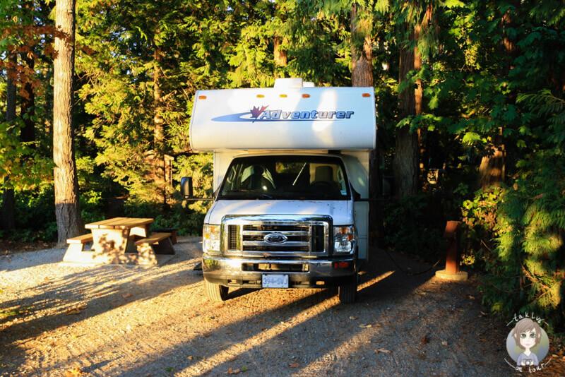 Stellplatz auf dem Porteau Cove Campground, BC