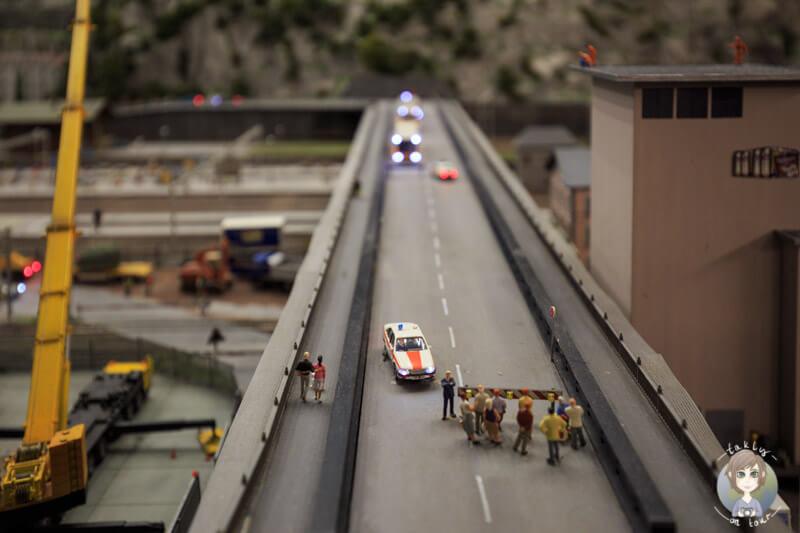 Straßensperrung im Miniatur Wunderland