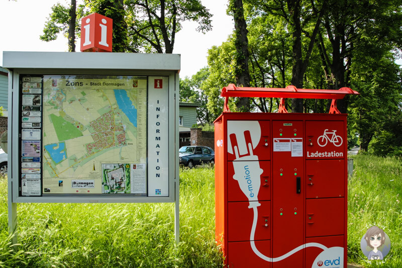 Informationstafel und ERadladestation in Zons