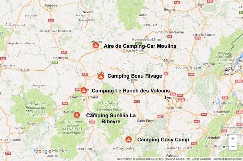 Unsere besuchten Campingplätze in der Auvergne