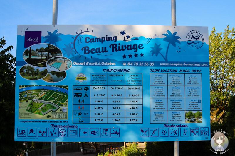 Inforamtionstafel Camping Beau Rivage