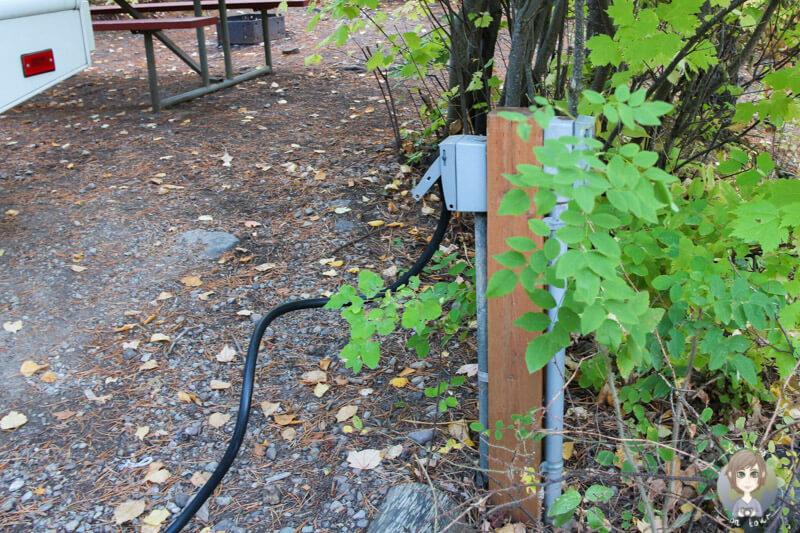 Stromanschluss auf einem Campground
