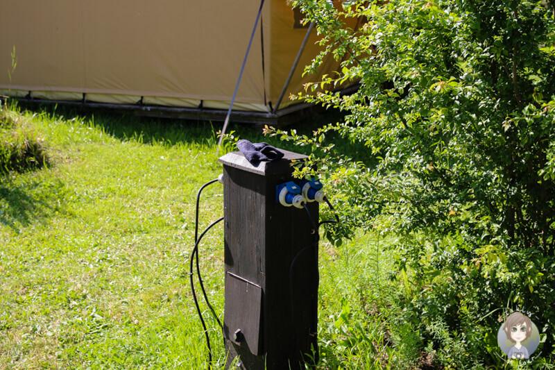 Stromanschluss beim Glamping in der Auvergne