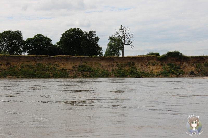 Natürlicher Flusslauf, der Allier in Moulins