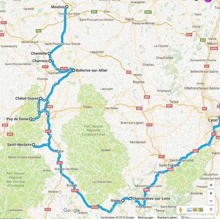 Unsere Route durch die Auvergne (Quelle: googlemaps)