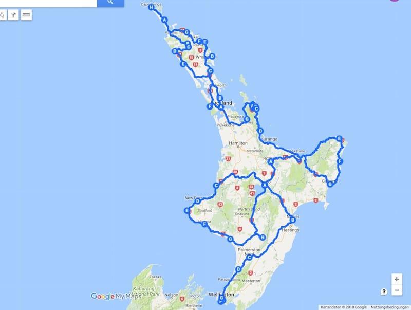 Unsere Reise - Route auf Neuseelands Nordinsel 2015