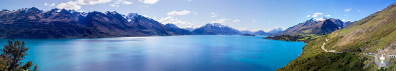 Panorama Der Head of the Lake Wakatipu Viewpoint, Neuseeland - COPYRIGHT Takly on tour