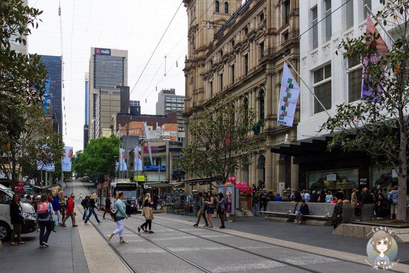Eine Einkaufsmeile in Melbourne