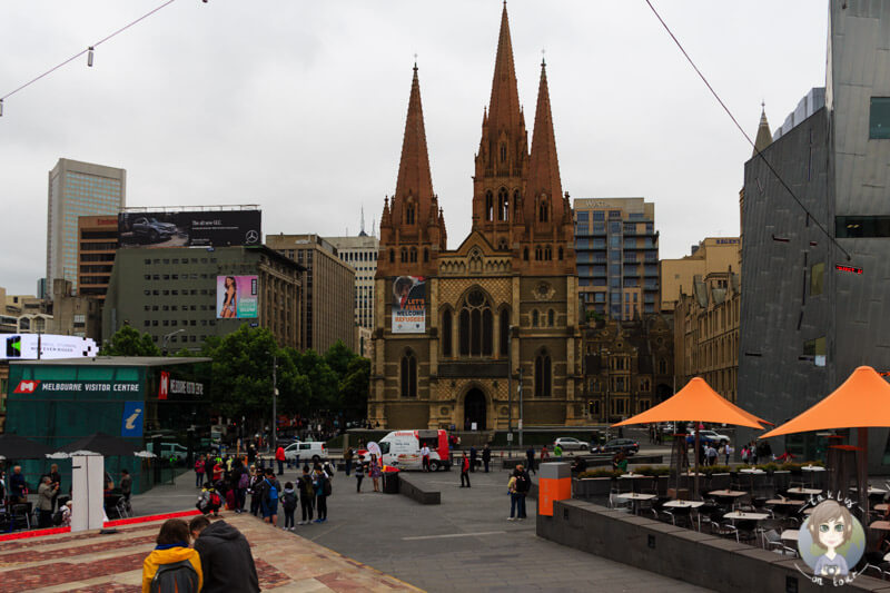 Am Federation Square in Melbourne, Victoria, Australien
