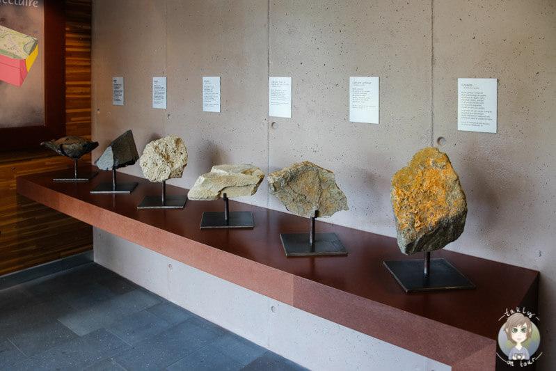 Geologie im Der Geologieraum im Fontaines-Pétrifiantes de Saint-Nectaire
