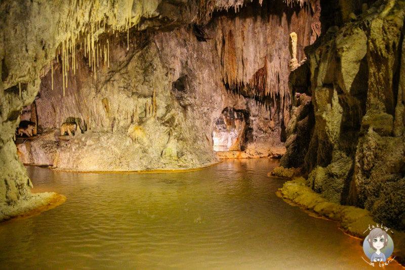 Unterirdische Quellen in der Grotte von Saint-Nectaire, Frankreich
