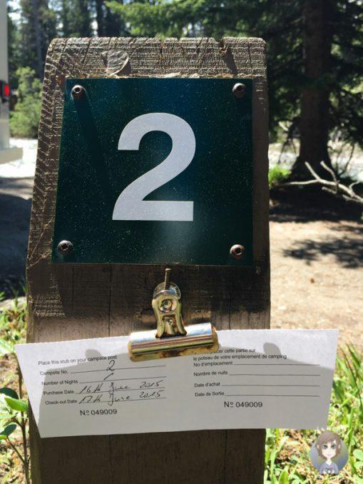 Stellplatznummer auf dem Campingplatz