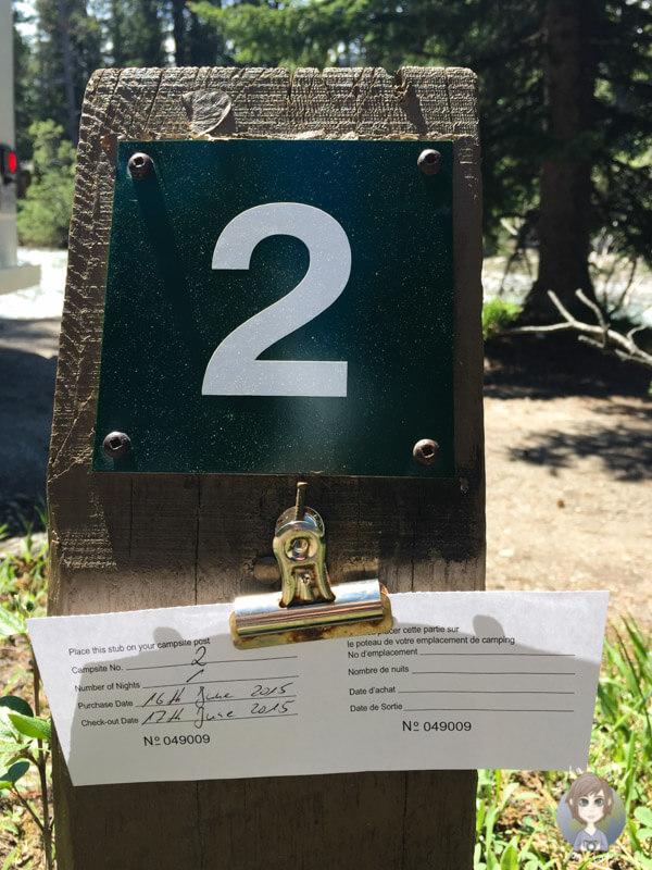 Self Registration Stellplatznummer auf dem Campingplatz in Kanada