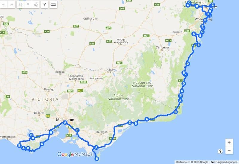 Unsere Australien Route 2015