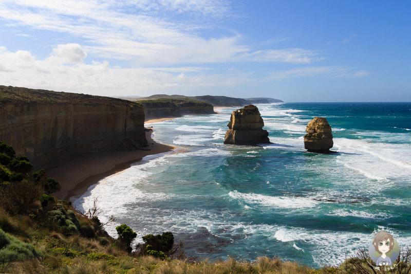 Zwei Apostel in der anderen Richtung an der Great Ocean Road