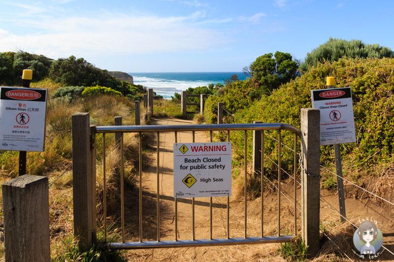 Geschlossener Wanderweg an der Great Ocean Road