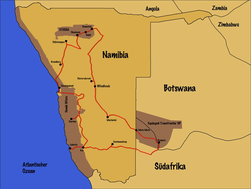 Route unserer Reise Camping in Namibia