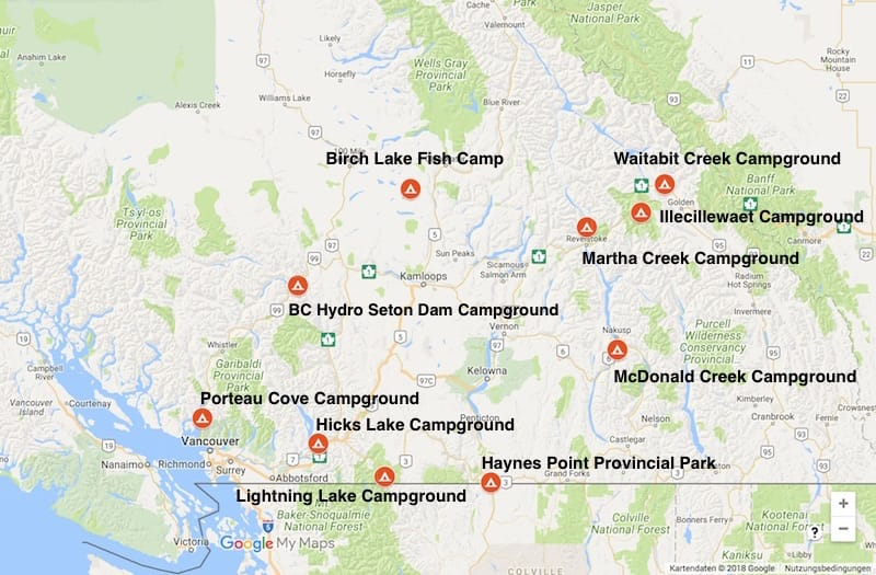 Unsere schönsten Campingplätze in BC, Kanada