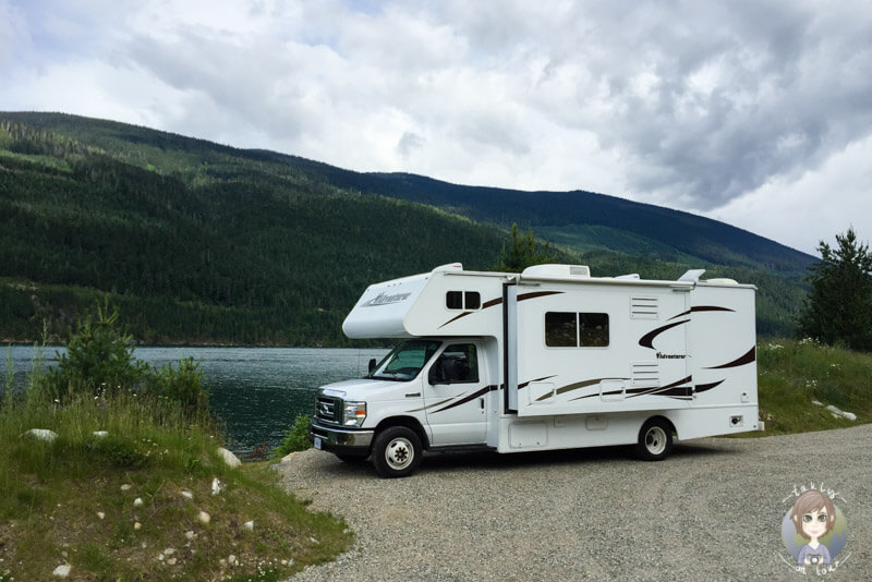 Camping direkt am Lake Revelstoke, Martha Creek Provincial Park Campground, British Columbia, Kanada