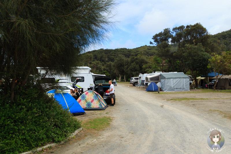 Camping im Wilson Promontory National Park, Tidal River, Australien