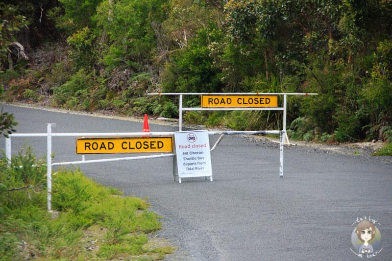 Gesperrte Zufahrt zum Mount Oberon, Victoria, Australien