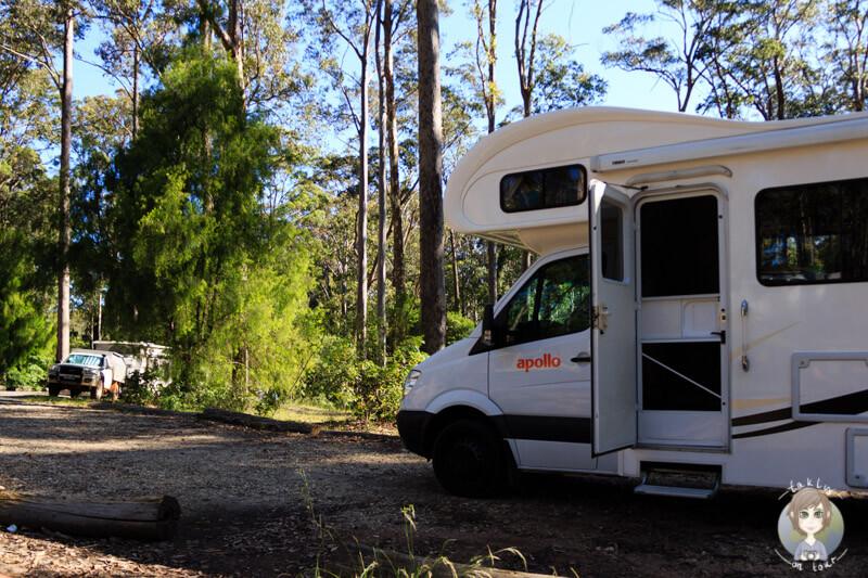 Mit dem Camper auf der Bodalla Forest Rest Area, NSW