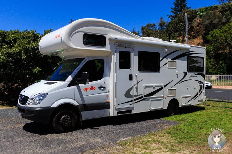 Parken mit dem Wohnmobil am Tathra Beach, NSW