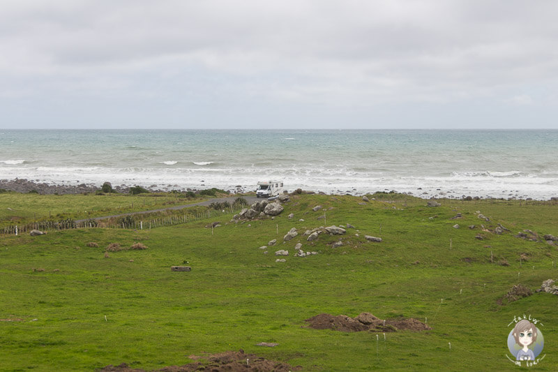 Blick über die Bucht am Cape Egmont