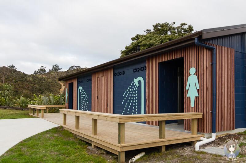 Duschen auf dem Pine Beach Campground, Neuseeland