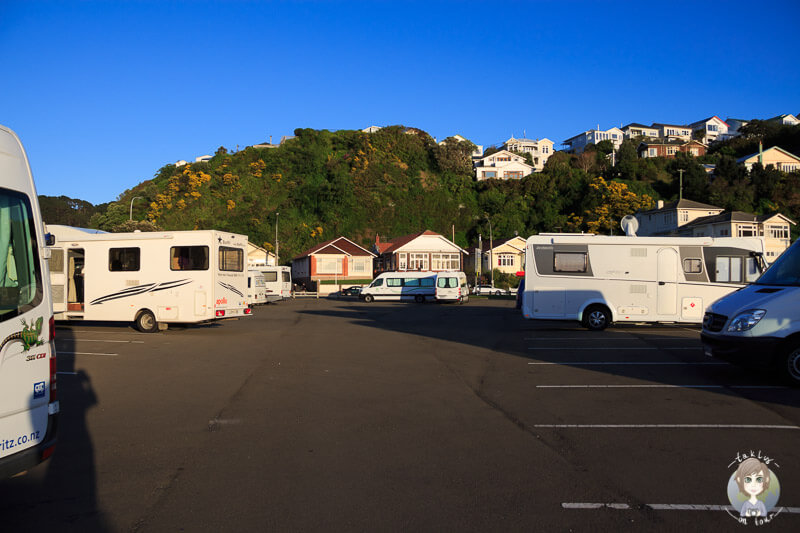 Camping in der Evans Bay, Wellington, Neuseeland