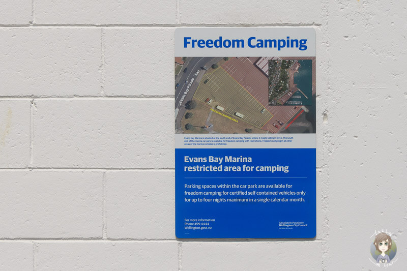 Freedom Camping an der Evans Bay Marina, Wellington