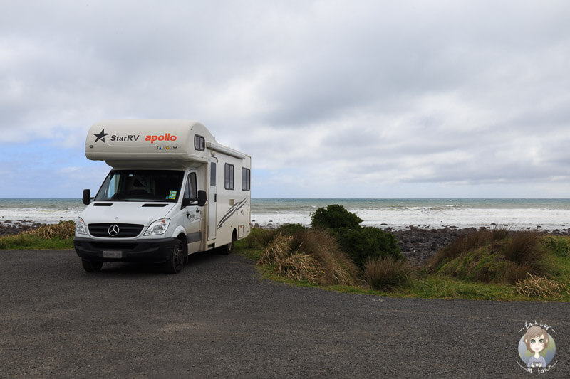 Mit dem Camper am Cape Egmont, Neuseeland