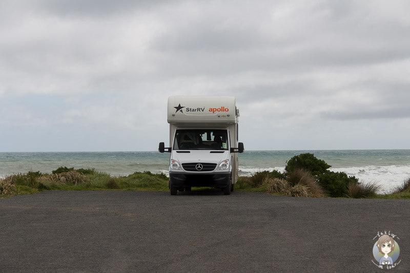 Mit dem Wohnmobil am Cape Egmont in Neuseeland