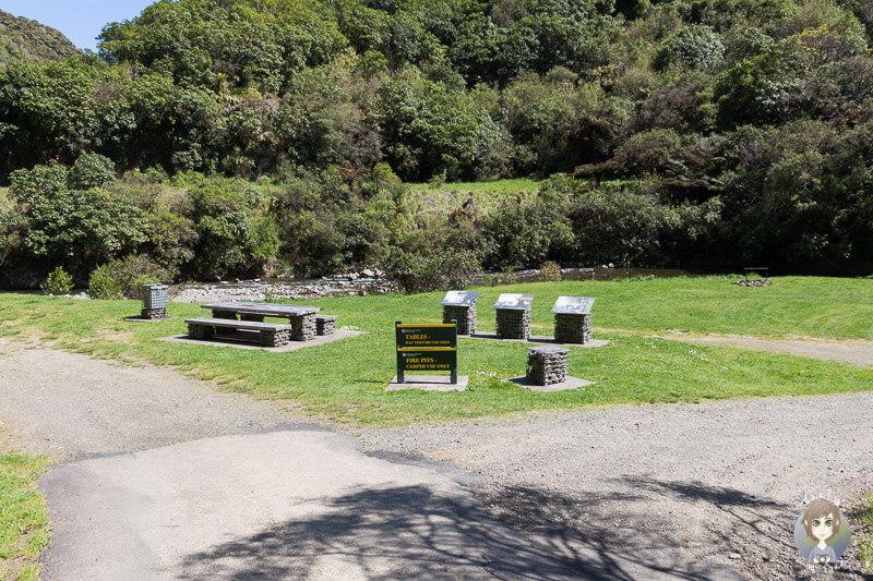 Picknickplätze auf der Manganuku DOC Campsite, Neuseeland