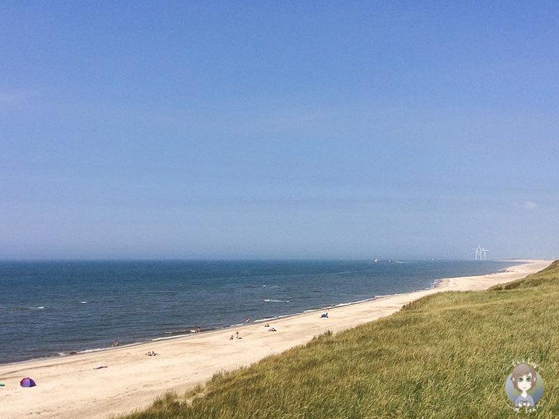Weiter Blick über die Dünen und den Strand in Dänemark, Europa
