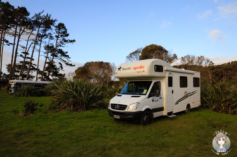 Ein Camper auf einem einfachen DOC Campingplatz in der Natur auf Neuseelands Nordinsel