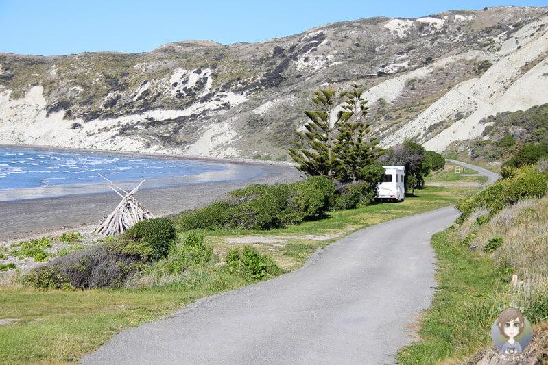 Blick ueber den Marfells Beach DOC einer unserer schönsten Campingplaetze Neuseeland Südinsel