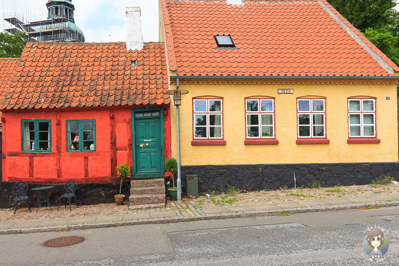 Bunte, sehenswerte Häuse in Nysted, Dänemark