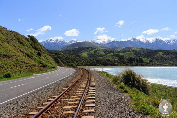 Blick auf die Berge und das Meer in Neuseeland ist eine unserer Neuseeland Sehenswuerdigkeiten