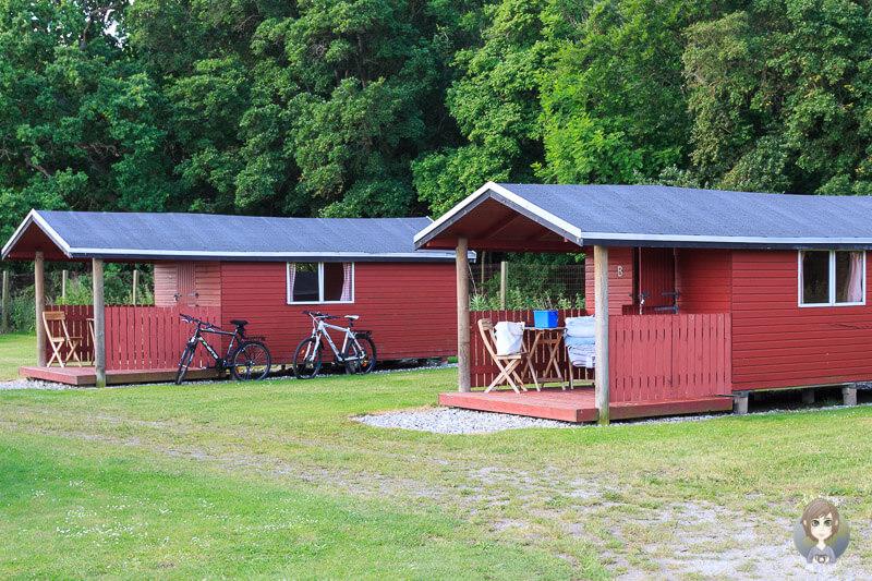 Campinghütten auf dem Campingplatz in Kragenæs